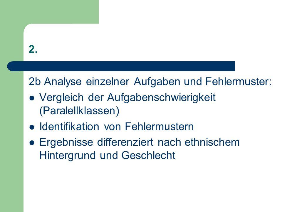 2. 2b Analyse einzelner Aufgaben und Fehlermuster: Vergleich der Aufgabenschwierigkeit (Paralellklassen) Identifikation von Fehlermustern Ergebnisse d