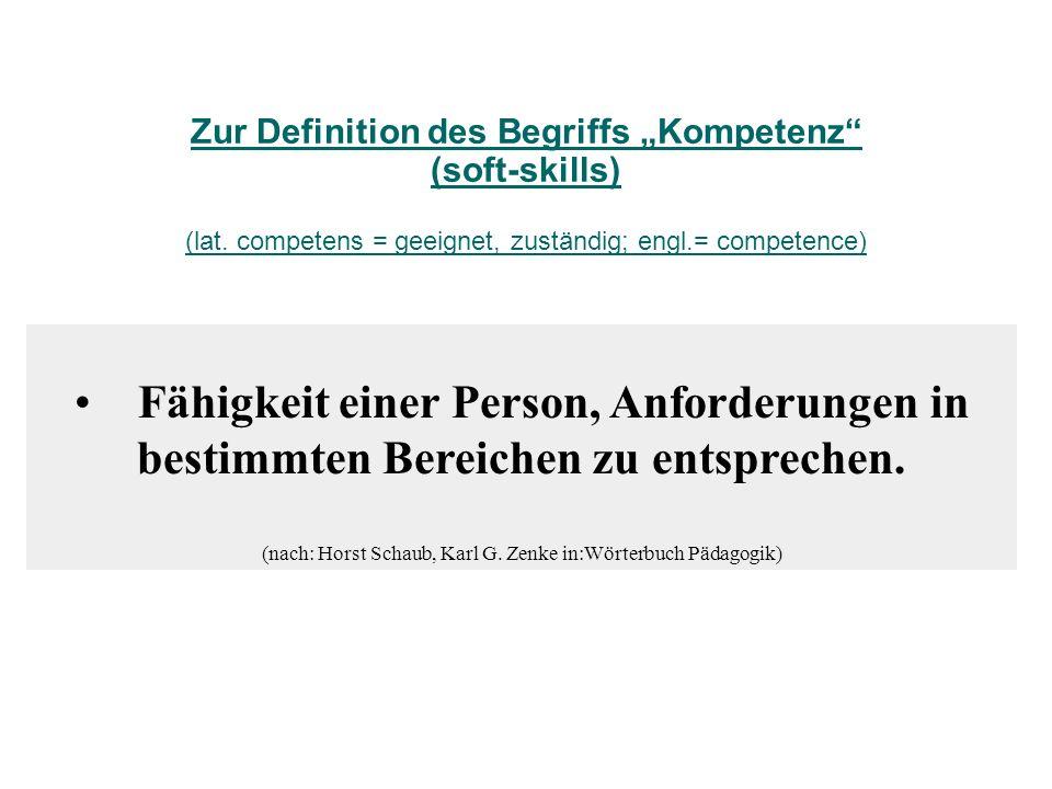 Fähigkeit einer Person, Anforderungen in bestimmten Bereichen zu entsprechen. (nach: Horst Schaub, Karl G. Zenke in:Wörterbuch Pädagogik) Zur Definiti
