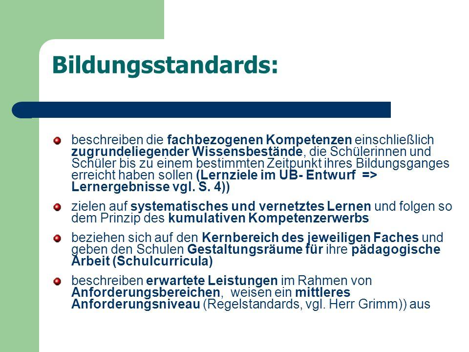Bildungsstandards: beschreiben die fachbezogenen Kompetenzen einschließlich zugrundeliegender Wissensbestände, die Schülerinnen und Schüler bis zu ein
