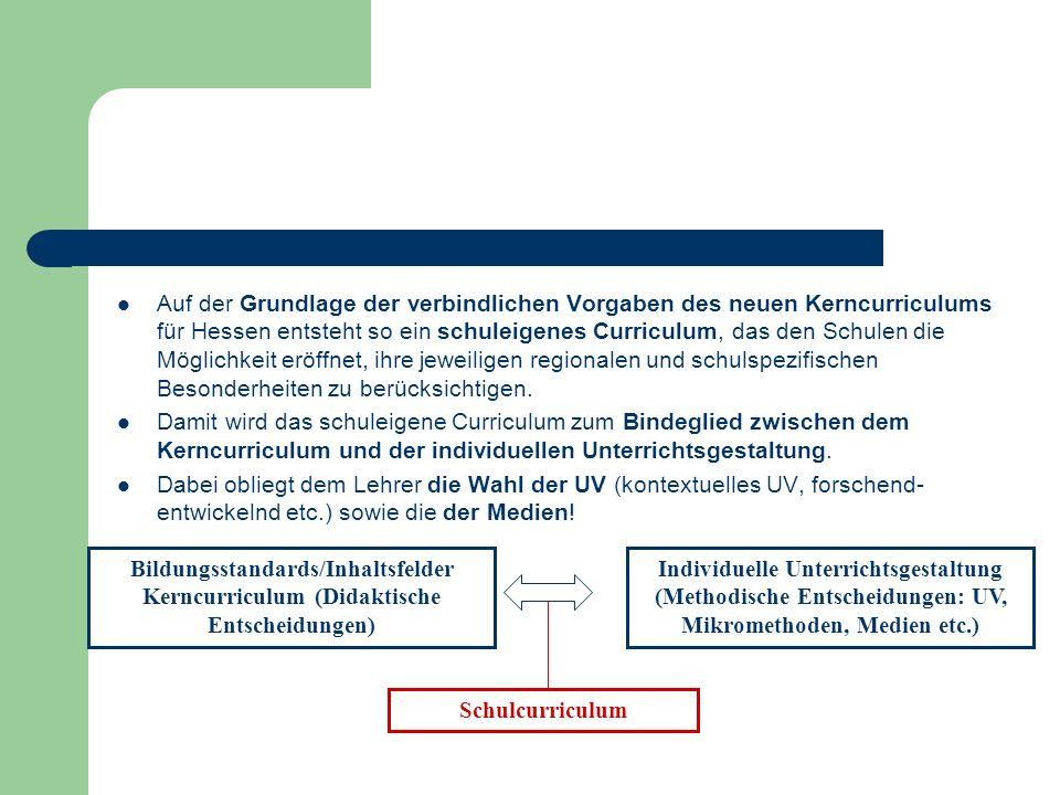 Auf der Grundlage der verbindlichen Vorgaben des neuen Kerncurriculums für Hessen entsteht so ein schuleigenes Curriculum, das den Schulen die Möglich