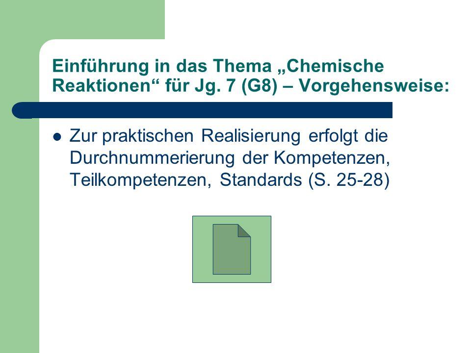 Einführung in das Thema Chemische Reaktionen für Jg. 7 (G8) – Vorgehensweise: Zur praktischen Realisierung erfolgt die Durchnummerierung der Kompetenz