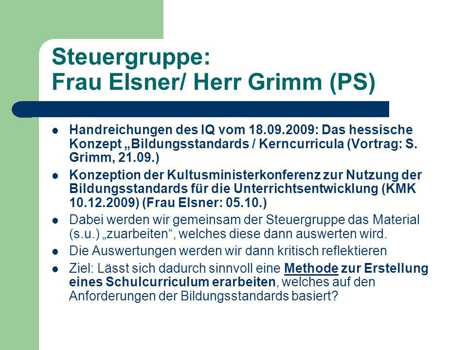 Steuergruppe: Frau Elsner/ Herr Grimm (PS) Handreichungen des IQ vom 18.09.2009: Das hessische Konzept Bildungsstandards / Kerncurricula (Vortrag: S.