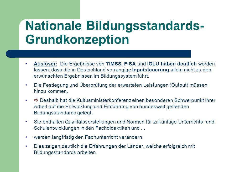 Nationale Bildungsstandards- Grundkonzeption Auslöser: Die Ergebnisse von TIMSS, PISA und IGLU haben deutlich werden lassen, dass die in Deutschland v