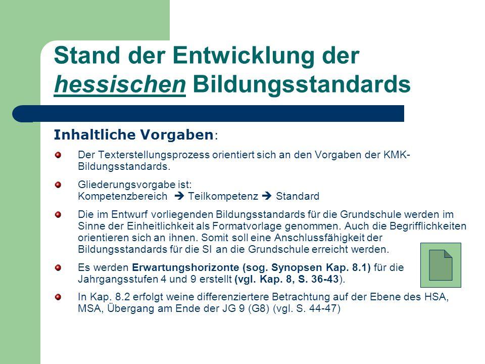 Stand der Entwicklung der hessischen Bildungsstandards Inhaltliche Vorgaben : Der Texterstellungsprozess orientiert sich an den Vorgaben der KMK- Bild