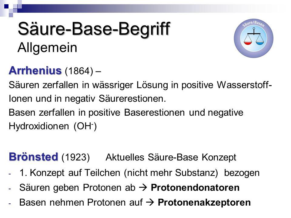Säure-Base-Begriff Säure-Base-Begriff Allgemein Arrhenius Arrhenius (1864) – Säuren zerfallen in wässriger Lösung in positive Wasserstoff- Ionen und i