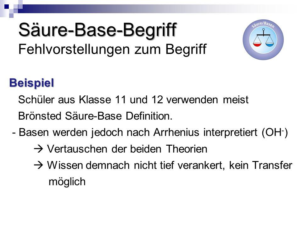 Säure-Base-Begriff Säure-Base-Begriff Fehlvorstellungen zum Begriff Beispiel Schüler aus Klasse 11 und 12 verwenden meist Brönsted Säure-Base Definiti