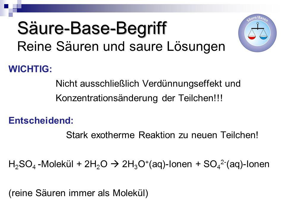 Säure-Base-Begriff Säure-Base-Begriff Reine Säuren und saure Lösungen WICHTIG: Nicht ausschließlich Verdünnungseffekt und Konzentrationsänderung der T