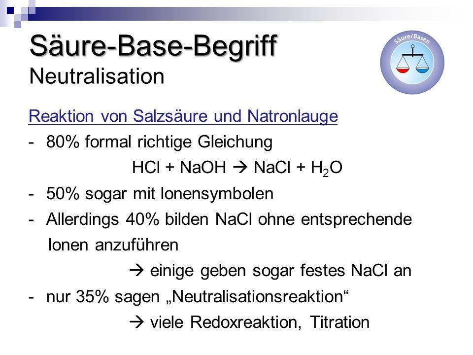 Säure-Base-Begriff Säure-Base-Begriff Neutralisation Reaktion von Salzsäure und Natronlauge -80% formal richtige Gleichung HCl + NaOH NaCl + H 2 O -50