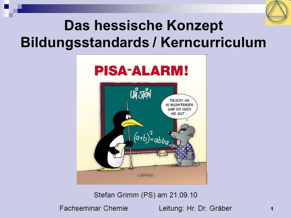 1 Das hessische Konzept Bildungsstandards / Kerncurriculum Stefan Grimm (PS) am 21.09.10 Fachseminar Chemie Leitung: Hr.
