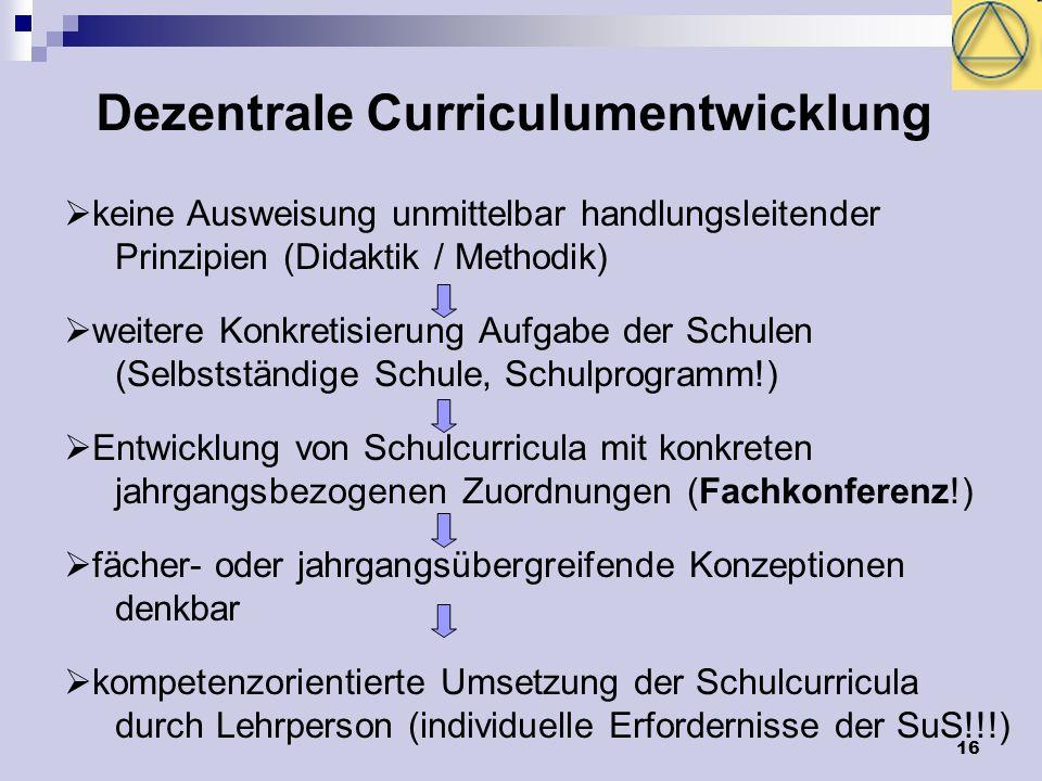 16 Dezentrale Curriculumentwicklung keine Ausweisung unmittelbar handlungsleitender Prinzipien (Didaktik / Methodik) weitere Konkretisierung Aufgabe der Schulen (Selbstständige Schule, Schulprogramm!) Entwicklung von Schulcurricula mit konkreten jahrgangsbezogenen Zuordnungen (Fachkonferenz!) fächer- oder jahrgangsübergreifende Konzeptionen denkbar kompetenzorientierte Umsetzung der Schulcurricula durch Lehrperson (individuelle Erfordernisse der SuS!!!)