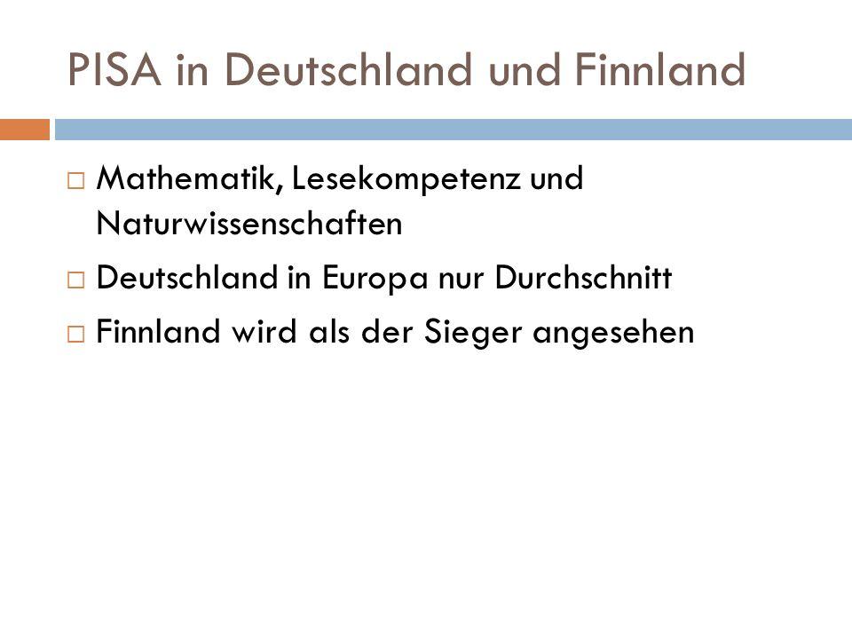 PISA in Deutschland und Finnland Mathematik, Lesekompetenz und Naturwissenschaften Deutschland in Europa nur Durchschnitt Finnland wird als der Sieger