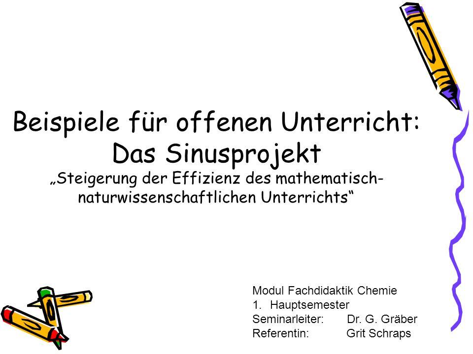 Beispiele für offenen Unterricht: Das Sinusprojekt Steigerung der Effizienz des mathematisch- naturwissenschaftlichen Unterrichts Modul Fachdidaktik C