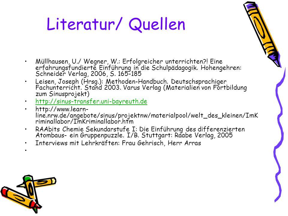Literatur/ Quellen Müllhausen, U./ Wegner, W.: Erfolgreicher unterrichten?! Eine erfahrungsfundierte Einführung in die Schulpädagogik. Hohengehren: Sc
