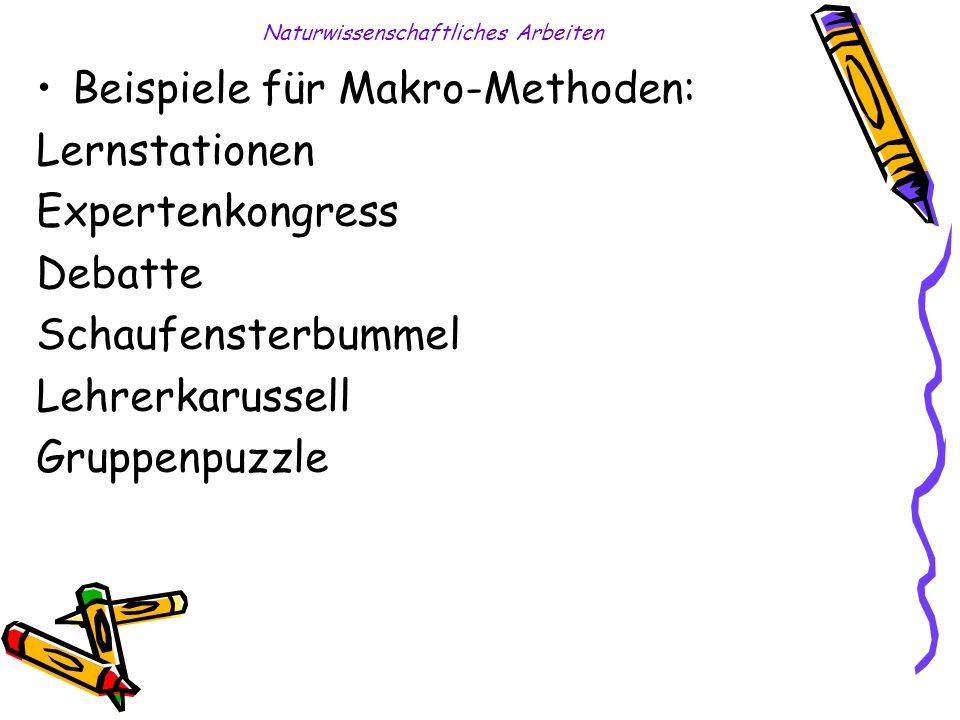Naturwissenschaftliches Arbeiten Beispiele für Makro-Methoden: Lernstationen Expertenkongress Debatte Schaufensterbummel Lehrerkarussell Gruppenpuzzle