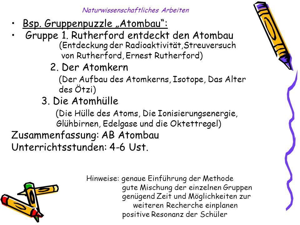 Naturwissenschaftliches Arbeiten Bsp. Gruppenpuzzle Atombau: Gruppe 1. Rutherford entdeckt den Atombau (Entdeckung der Radioaktivität,Streuversuch von