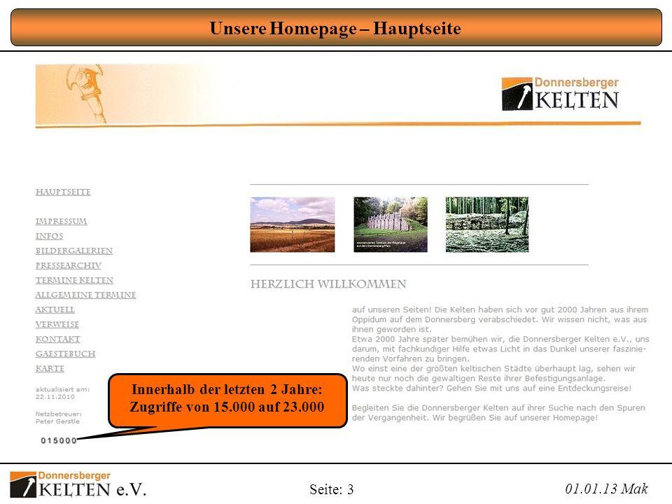 Seite: 3 Unsere Homepage – Hauptseite 01.01.13 Mak Innerhalb der letzten 2 Jahre: Zugriffe von 15.000 auf 23.000