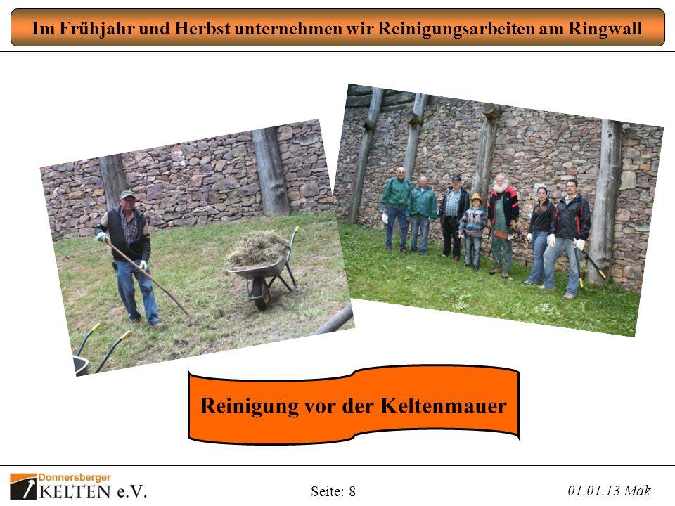 Seite: 8 Im Frühjahr und Herbst unternehmen wir Reinigungsarbeiten am Ringwall 01.01.13 Mak Reinigung vor der Keltenmauer