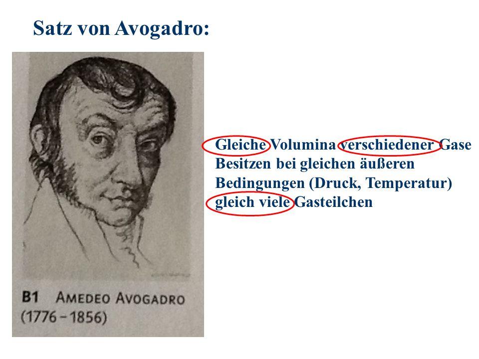 Satz von Avogadro: Gleiche Volumina verschiedener Gase Besitzen bei gleichen äußeren Bedingungen (Druck, Temperatur) gleich viele Gasteilchen