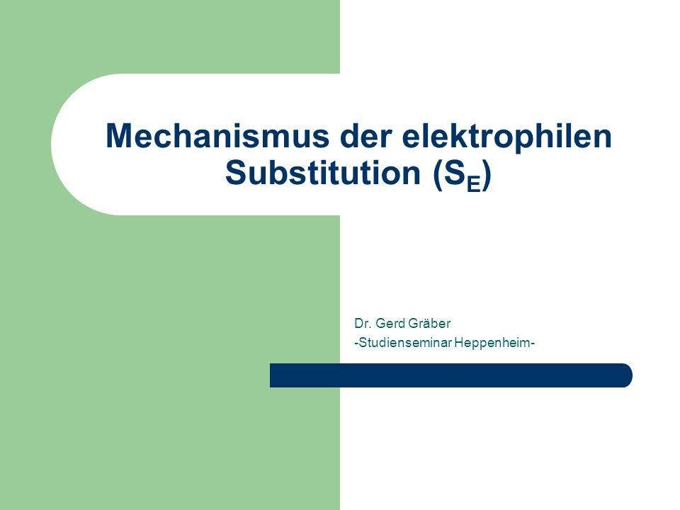 Mechanismus der elektrophilen Substitution (S E ) Dr. Gerd Gräber -Studienseminar Heppenheim-