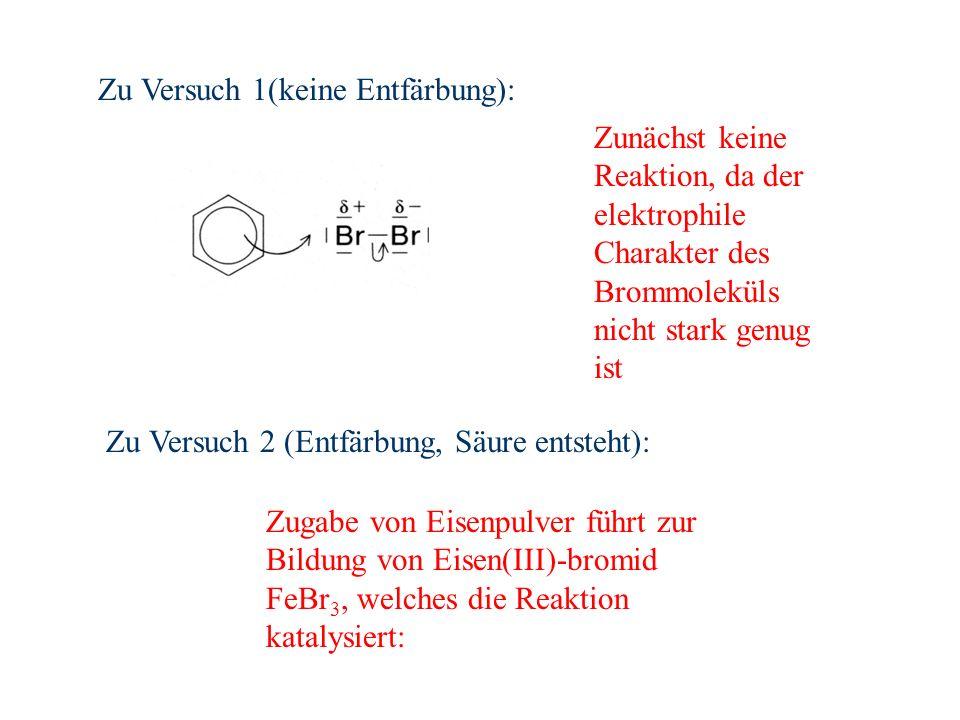 Zunächst keine Reaktion, da der elektrophile Charakter des Brommoleküls nicht stark genug ist Zugabe von Eisenpulver führt zur Bildung von Eisen(III)-