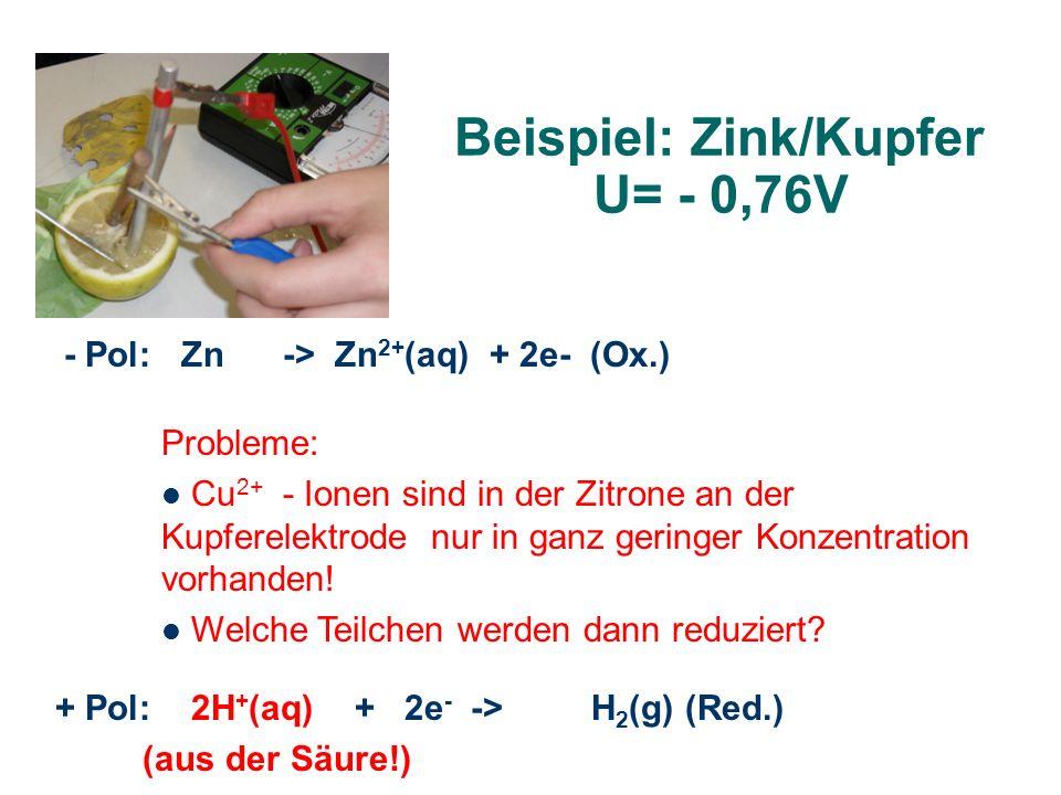 Beispiel: Zink/Kupfer U= - 0,76V - Pol: Zn -> Zn 2+ (aq) + 2e- (Ox.) + Pol: 2H + (aq) + 2e - -> H 2 (g) (Red.) (aus der Säure!) Probleme: Cu 2+ - Ione