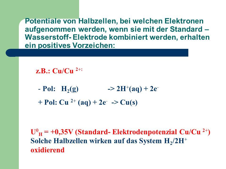 Potentiale von Halbzellen, bei welchen Elektronen aufgenommen werden, wenn sie mit der Standard – Wasserstoff- Elektrode kombiniert werden, erhalten e