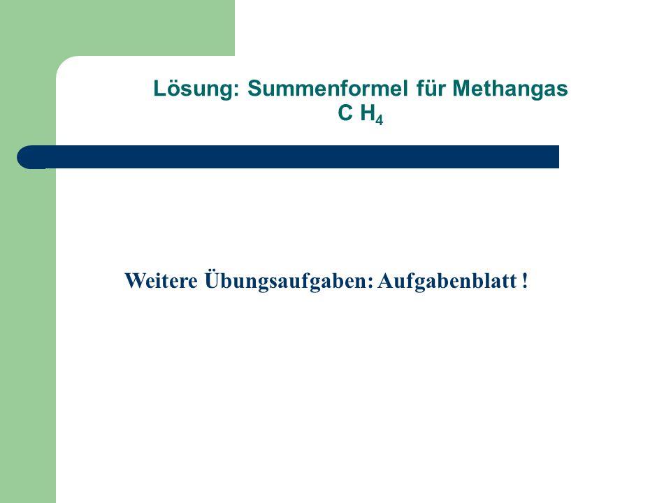 Lösung: Summenformel für Methangas C H 4 Weitere Übungsaufgaben: Aufgabenblatt !