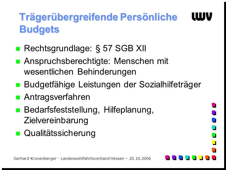 Gerhard Kronenberger - Landeswohlfahrtsverband Hessen – 20.10.2006 Trägerübergreifende Persönliche Budgets Rechtsgrundlage: § 57 SGB XII Anspruchsbere