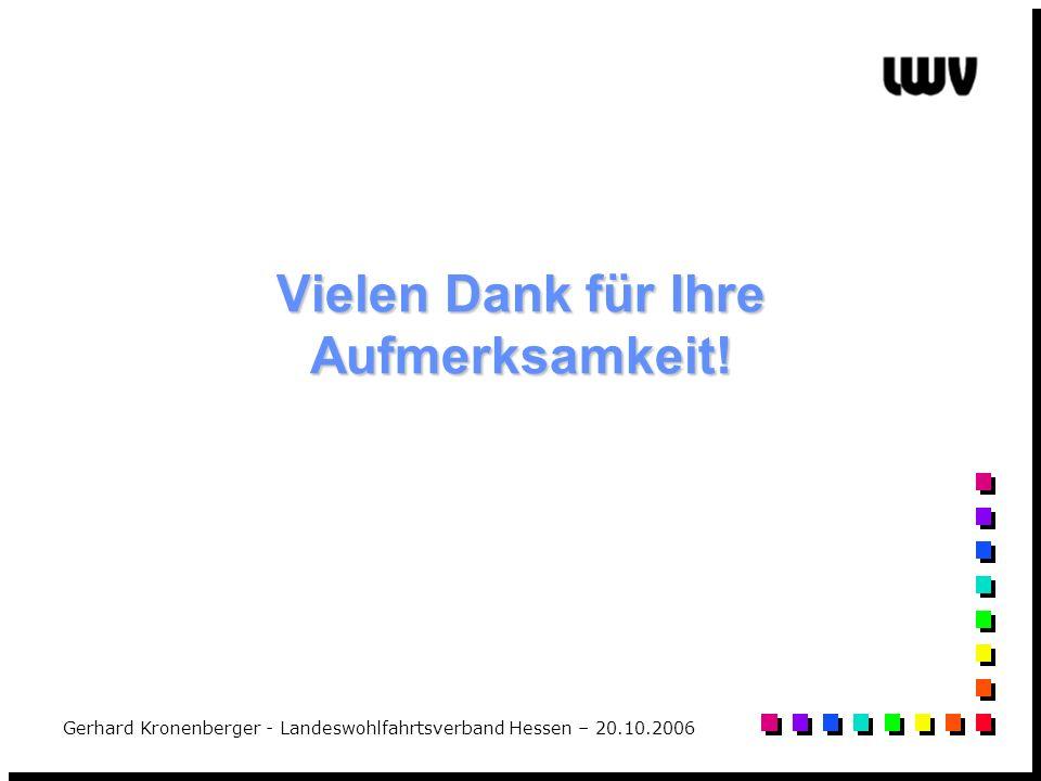 Gerhard Kronenberger - Landeswohlfahrtsverband Hessen – 20.10.2006 Vielen Dank für Ihre Aufmerksamkeit!