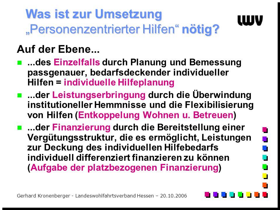 Gerhard Kronenberger - Landeswohlfahrtsverband Hessen – 20.10.2006 Was ist zur Umsetzung Personenzentrierter Hilfen nötig? Auf der Ebene......des Einz