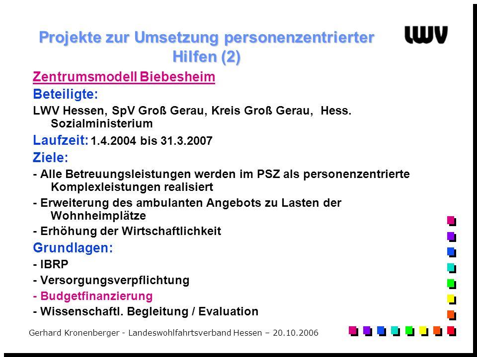 Gerhard Kronenberger - Landeswohlfahrtsverband Hessen – 20.10.2006 Projekte zur Umsetzung personenzentrierter Hilfen (2) Zentrumsmodell Biebesheim Bet