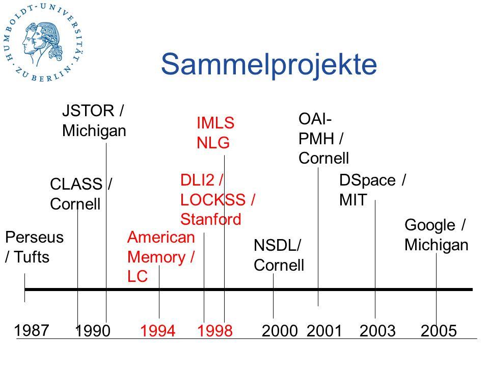 Integration Perseus / Tufts JSTOR / Michigan 1987 1990 CLASS / Cornell American Memory / LC DLI2 / LOCKSS / Stanford NSDL/ Cornell DSpace / MIT Google / Michigan IMLS NLG OAI- PMH / Cornell 200519981994200020032001