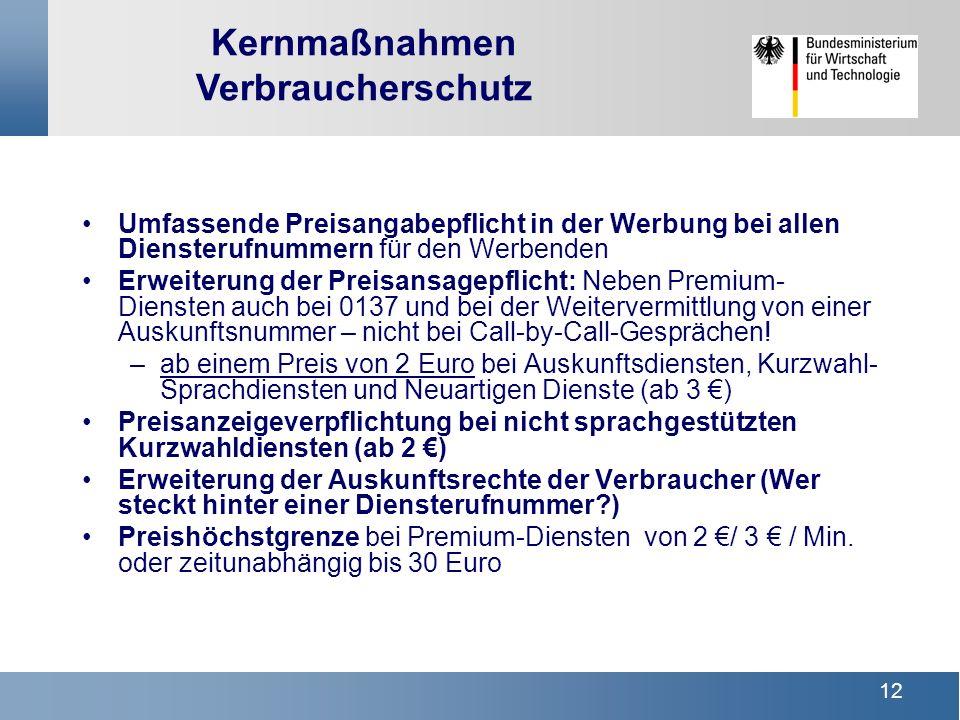 11 §§ 43a ff : Ausgangspunkt TKV Anbieter Kunde privatrechtliche Beziehung §§ 66 ff Nummerierung BNetzA - Anbieter von TK-Diensten - Netzbetreiber - Nutzer von Rufnummern öffentl.-rechtliche Beziehung Verbraucherschutz: Struktur Kundenschutz /Nummerierung