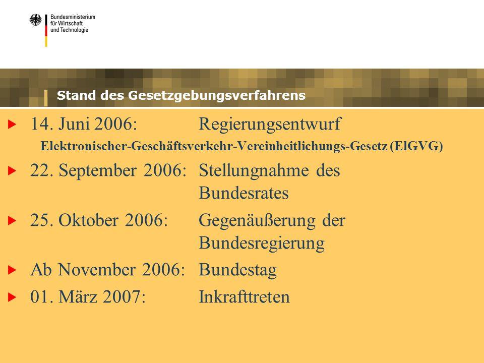 Stand des Gesetzgebungsverfahrens 14. Juni 2006:Regierungsentwurf Elektronischer-Geschäftsverkehr-Vereinheitlichungs-Gesetz (ElGVG) 22. September 2006
