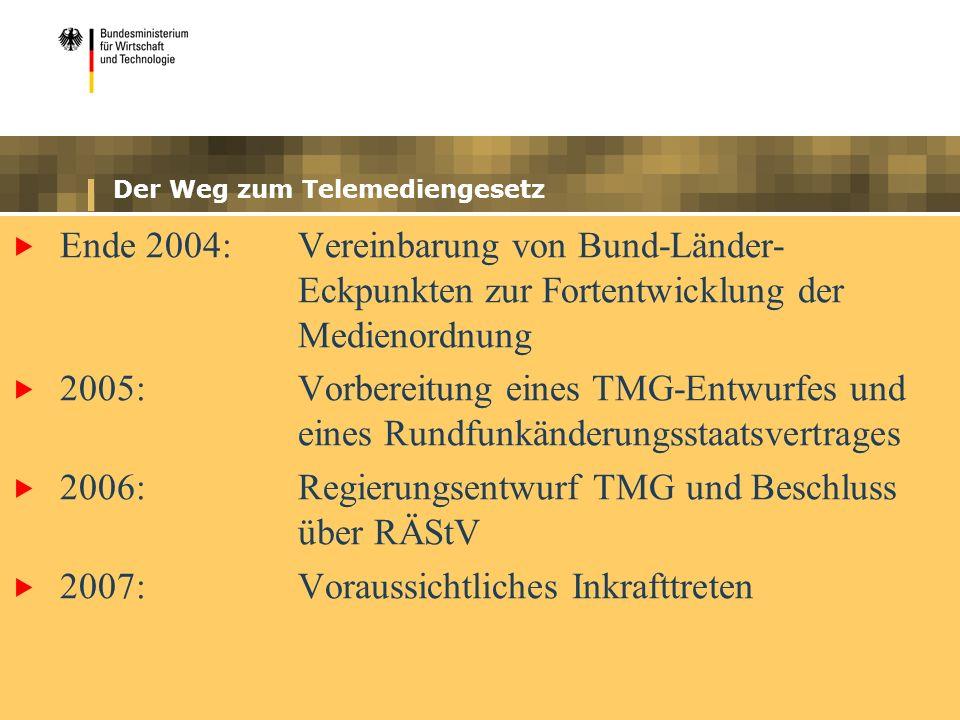 Der Weg zum Telemediengesetz Ende 2004: Vereinbarung von Bund-Länder- Eckpunkten zur Fortentwicklung der Medienordnung 2005:Vorbereitung eines TMG-Entwurfes und eines Rundfunkänderungsstaatsvertrages 2006:Regierungsentwurf TMG und Beschluss über RÄStV 2007:Voraussichtliches Inkrafttreten