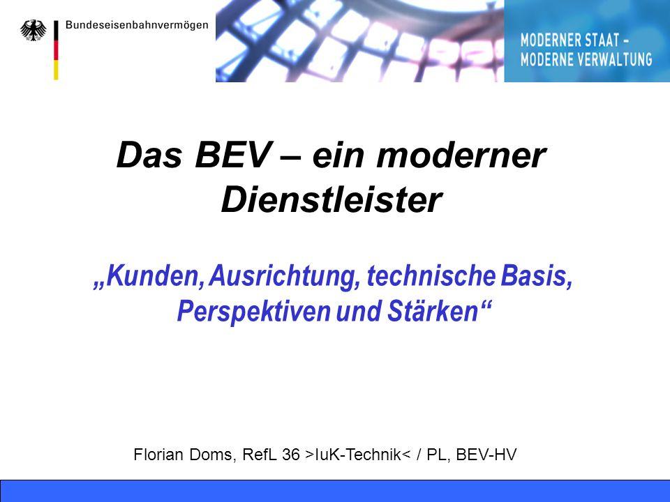Bonn, 08.02.2004 RelL 36, PL BVF - online1 Das BEV – ein moderner Dienstleister Kunden, Ausrichtung, technische Basis, Perspektiven und Stärken Floria