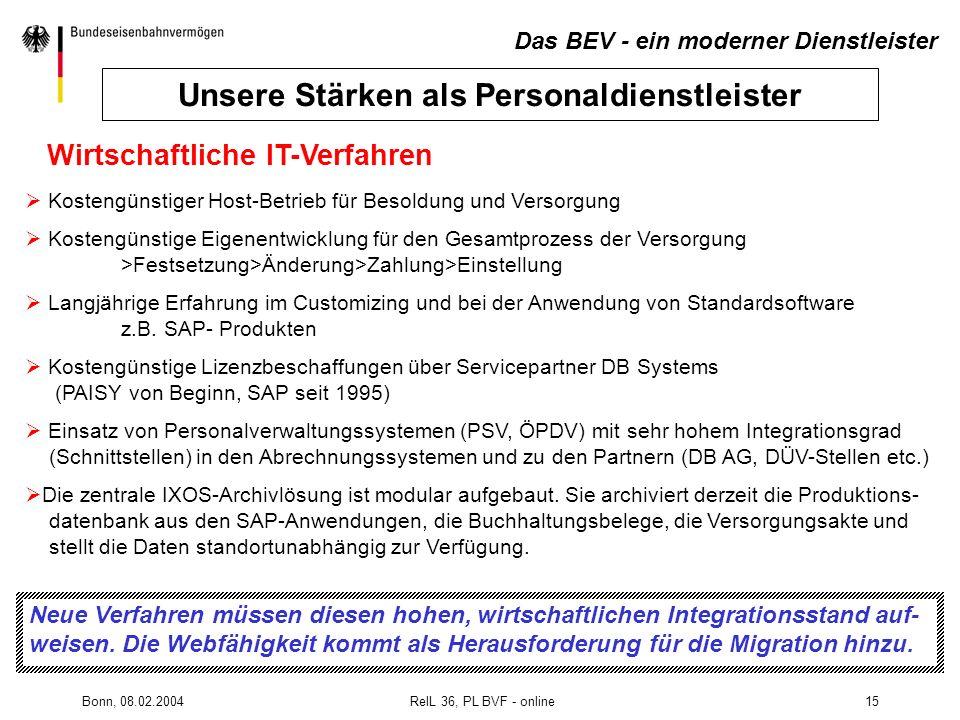 Bonn, 08.02.2004 RelL 36, PL BVF - online15 Wirtschaftliche IT-Verfahren Kostengünstiger Host-Betrieb für Besoldung und Versorgung Kostengünstige Eige