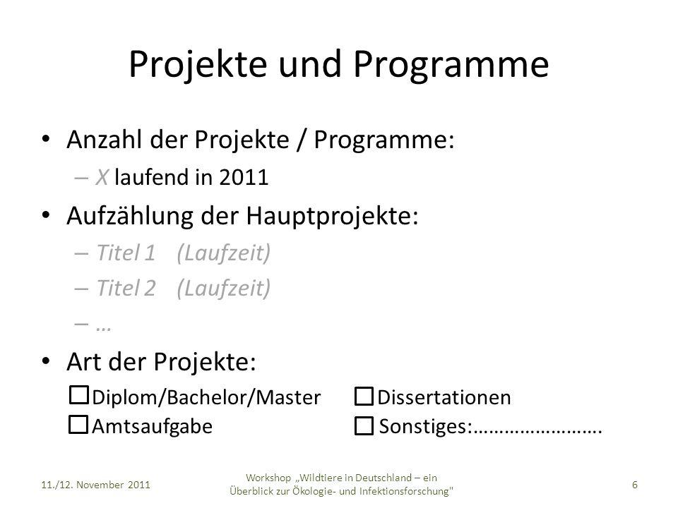Projekte und Programme Anzahl der Projekte / Programme: – X laufend in 2011 Aufzählung der Hauptprojekte: – Titel 1(Laufzeit) – Titel 2(Laufzeit) – … Art der Projekte: Diplom/Bachelor/Master Dissertationen Amtsaufgabe Sonstiges:…………………….