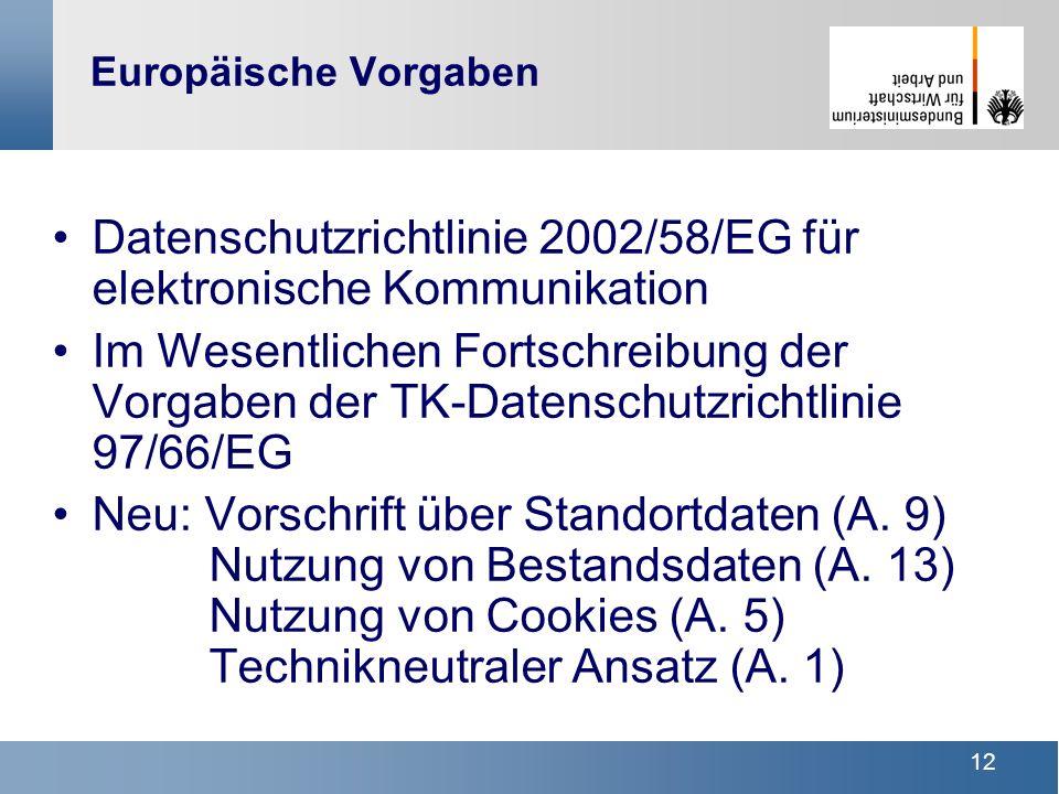 12 Europäische Vorgaben Datenschutzrichtlinie 2002/58/EG für elektronische Kommunikation Im Wesentlichen Fortschreibung der Vorgaben der TK-Datenschut