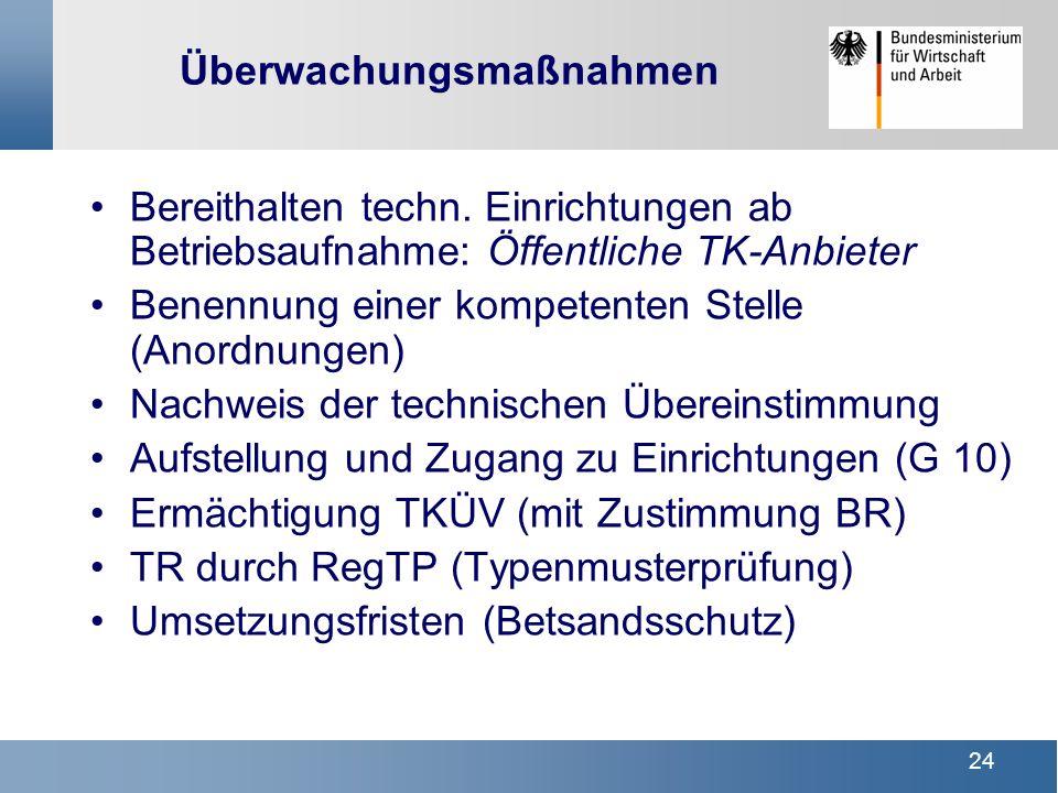 24 Überwachungsmaßnahmen Bereithalten techn. Einrichtungen ab Betriebsaufnahme: Öffentliche TK-Anbieter Benennung einer kompetenten Stelle (Anordnunge