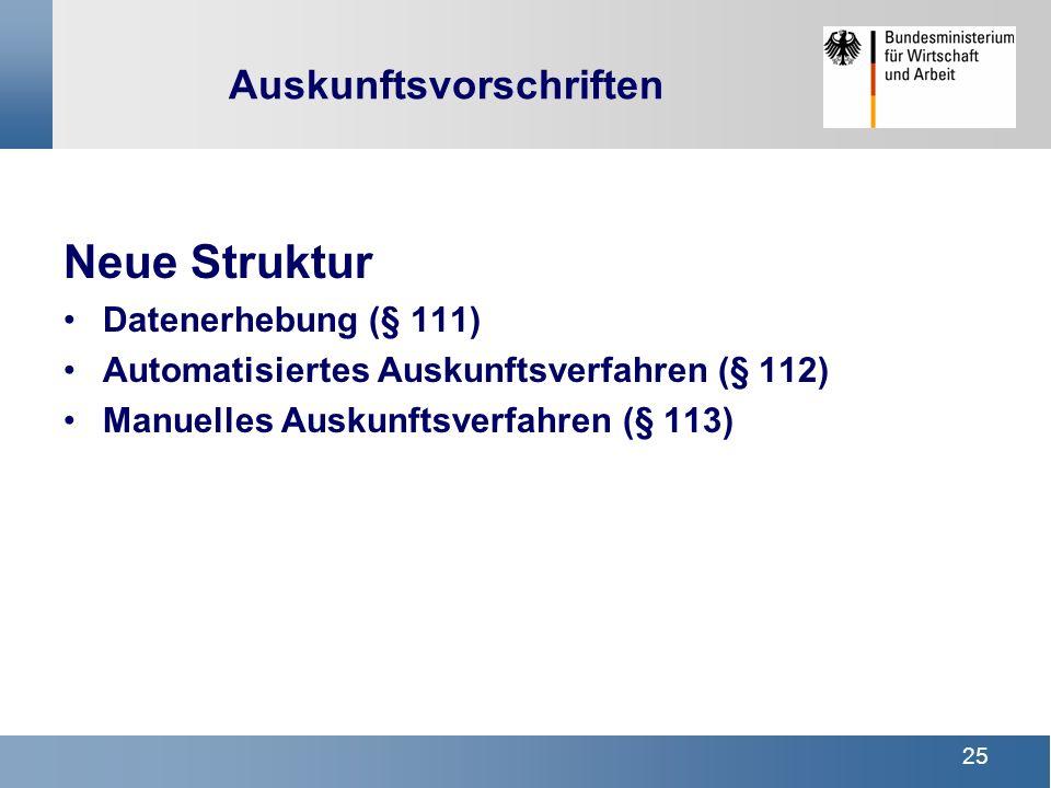 25 Auskunftsvorschriften Neue Struktur Datenerhebung (§ 111) Automatisiertes Auskunftsverfahren (§ 112) Manuelles Auskunftsverfahren (§ 113)