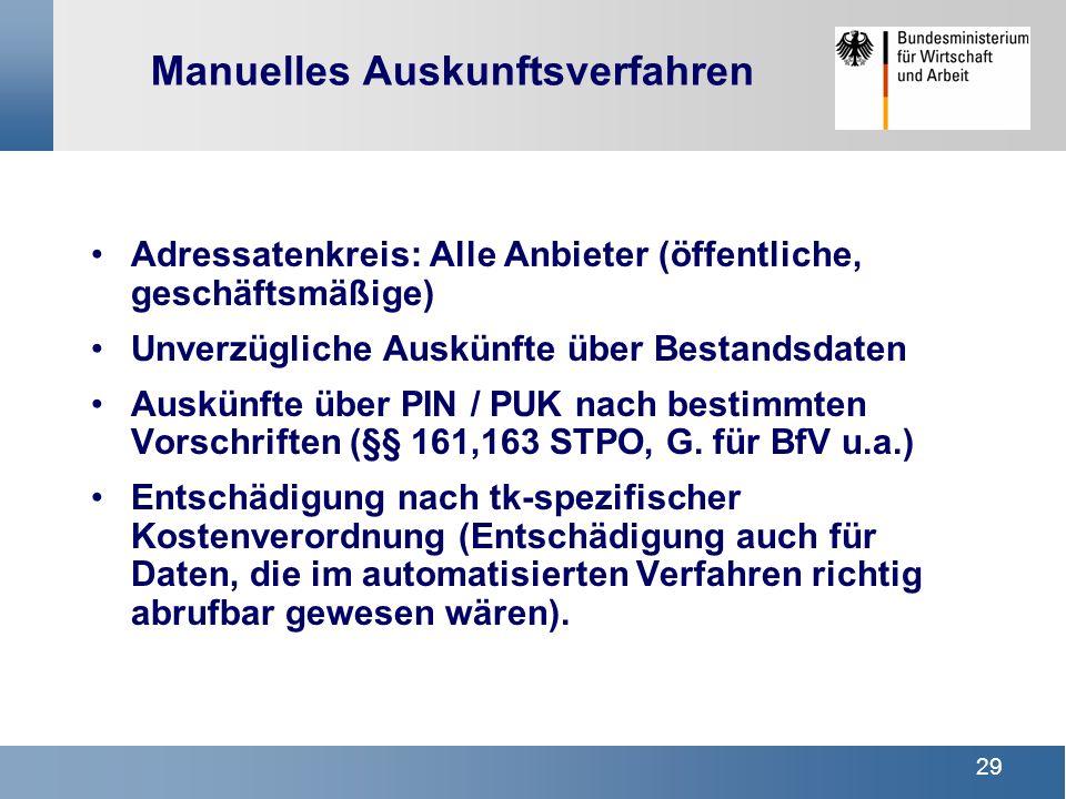29 Manuelles Auskunftsverfahren Adressatenkreis: Alle Anbieter (öffentliche, geschäftsmäßige) Unverzügliche Auskünfte über Bestandsdaten Auskünfte übe