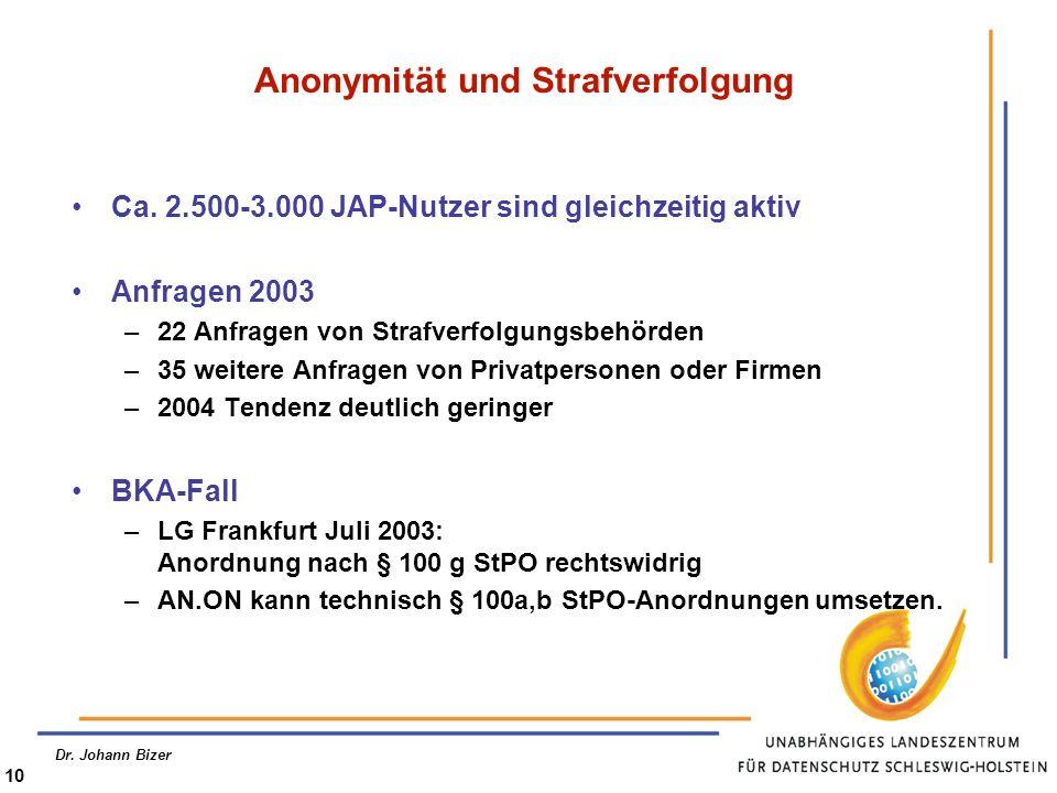 Dr. Johann Bizer 10 Anonymität und Strafverfolgung Ca. 2.500-3.000 JAP-Nutzer sind gleichzeitig aktiv Anfragen 2003 –22 Anfragen von Strafverfolgungsb