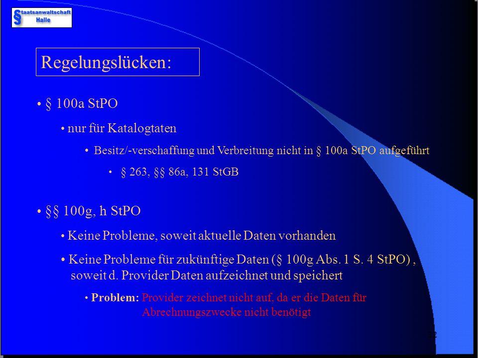 21 IP-Nummern/Bestandsdaten (nicht gefaked) Provider Beschluss (§§ 100g, h StPO) E-Mail-Adressen Auskunft Beschluss (§§ 100g, h StPO) ProviderVerbindu