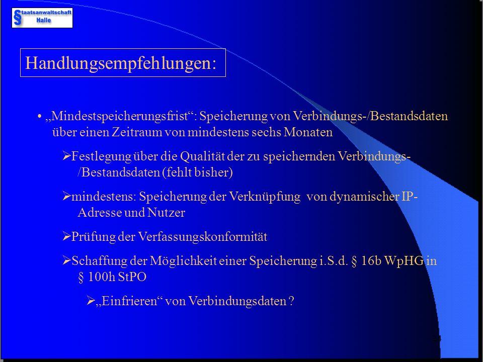 23 Fazit: bisher nur eingeschränkte Möglichkeiten des Zugriffs auf Verbindungsdaten TDSV und TDDSG verpflichtet die Internetprovider, Verbindungs-/Bes