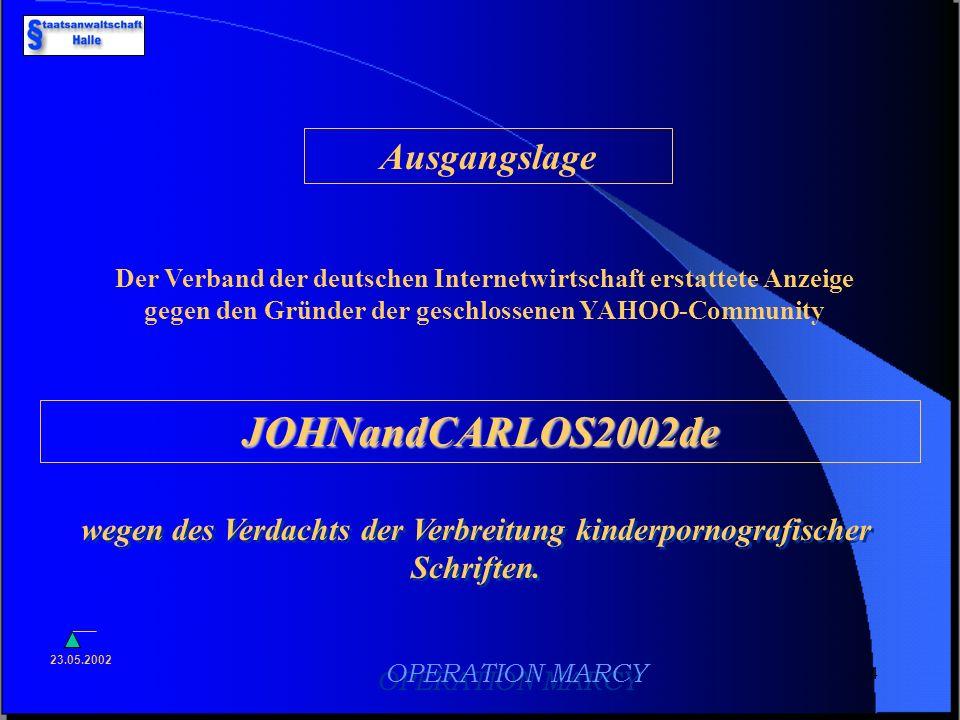 3 OPERATION MARCY OPERATION MARCY Verbreitung kinderpornografischer Schriften in geschlossenen Internetcommunities