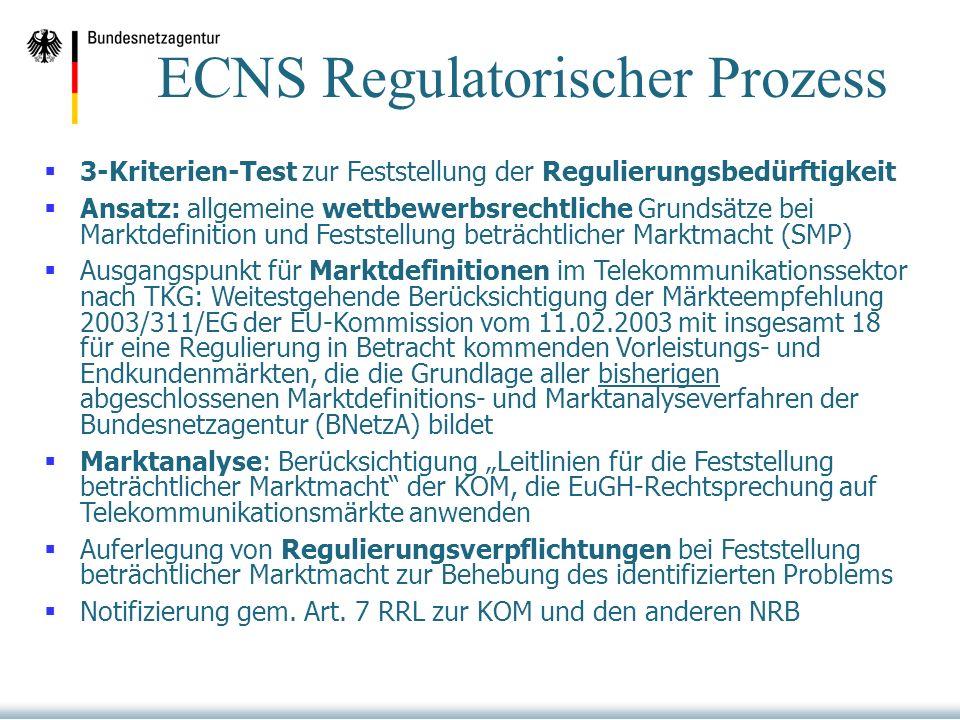 3-Kriterien-Test zur Feststellung der Regulierungsbedürftigkeit Ansatz: allgemeine wettbewerbsrechtliche Grundsätze bei Marktdefinition und Feststellung beträchtlicher Marktmacht (SMP) Ausgangspunkt für Marktdefinitionen im Telekommunikationssektor nach TKG: Weitestgehende Berücksichtigung der Märkteempfehlung 2003/311/EG der EU-Kommission vom 11.02.2003 mit insgesamt 18 für eine Regulierung in Betracht kommenden Vorleistungs- und Endkundenmärkten, die die Grundlage aller bisherigen abgeschlossenen Marktdefinitions- und Marktanalyseverfahren der Bundesnetzagentur (BNetzA) bildet Marktanalyse: Berücksichtigung Leitlinien für die Feststellung beträchtlicher Marktmacht der KOM, die EuGH-Rechtsprechung auf Telekommunikationsmärkte anwenden Auferlegung von Regulierungsverpflichtungen bei Feststellung beträchtlicher Marktmacht zur Behebung des identifizierten Problems Notifizierung gem.