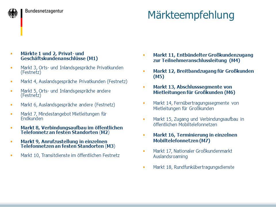 Von der BNetzA tatsächlich noch ex-ante regulierte Märkte: Märkteempfehlung Märkte 1 und 2, Privat- und Geschäftskundenanschlüsse (M1) Markt 3, Orts- und Inlandsgespräche Privatkunden (Festnetz) Markt 4, Auslandsgespräche Privatkunden (Festnetz) Markt 5, Orts- und Inlandsgespräche andere (Festnetz) Markt 6, Auslandsgespräche andere (Festnetz) Markt 7, Mindestangebot Mietleitungen für Endkunden Markt 8, Verbindungsaufbau im öffentlichen Telefonnetz an festen Standorten (M2) Markt 9, Anrufzustellung in einzelnen Telefonnetzen an festen Standorten (M3) Markt 10, Transitdienste im öffentlichen Festnetz Markt 11, Entbündelter Großkundenzugang zur Teilnehmeranschlussleitung (M4) Markt 12, Breitbandzugang für Großkunden (M5) Markt 13, Abschlusssegmente von Mietleitungen für Großkunden (M6) Markt 14, Fernübertragungssegmente von Mietleitungen für Großkunden Markt 15, Zugang und Verbindungsaufbau in öffentlichen Mobiltelefonnetzen Markt 16, Terminierung in einzelnen Mobiltelefonnetzen (M7) Markt 17, Nationaler Großkundenmarkt Auslandsroaming Markt 18, Rundfunkübertragungsdienste