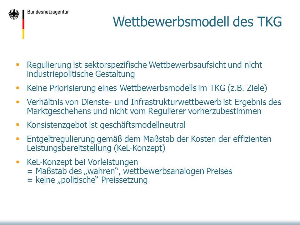 Wettbewerbsmodell des TKG Regulierung ist sektorspezifische Wettbewerbsaufsicht und nicht industriepolitische Gestaltung Keine Priorisierung eines Wettbewerbsmodells im TKG (z.B.