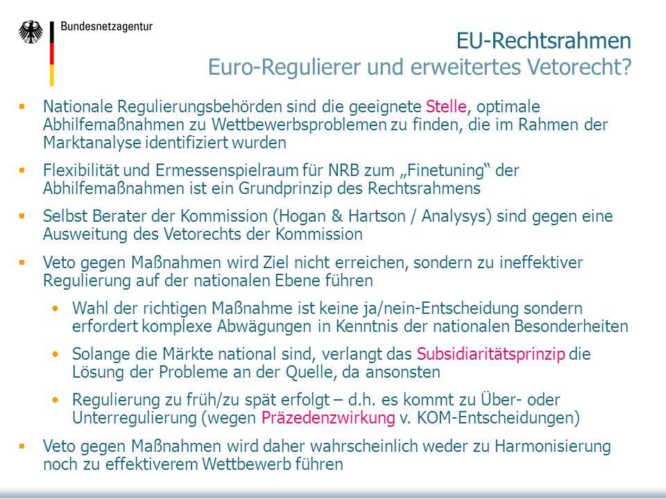 EU-Rechtsrahmen Euro-Regulierer und erweitertes Vetorecht.